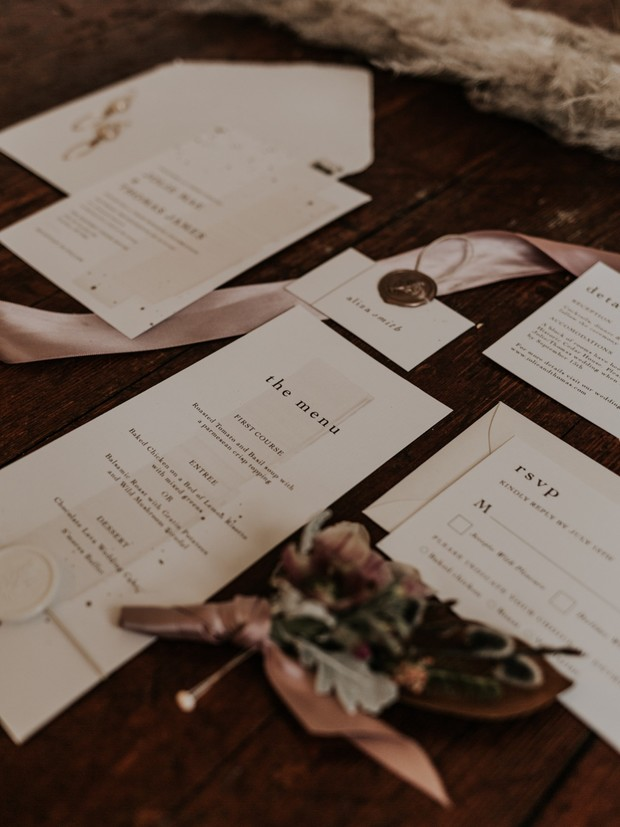 modern wedding invitation suite idea