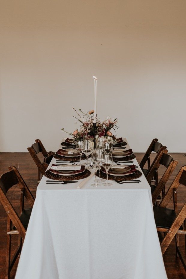 wedding table with vintage modern vibe