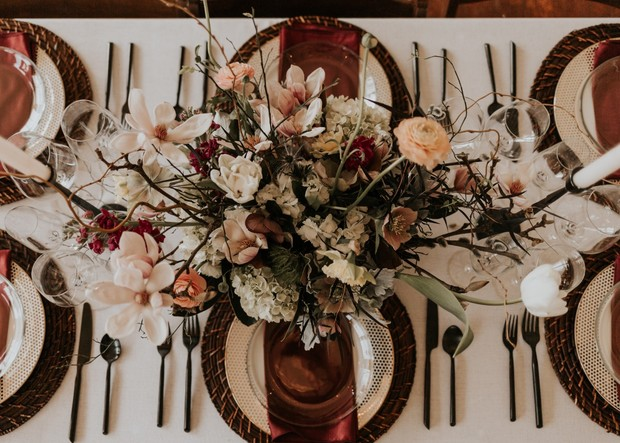 earthy wedding table decor with modern touches