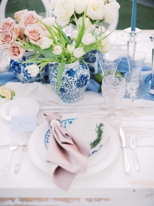 blush blue and white place setting
