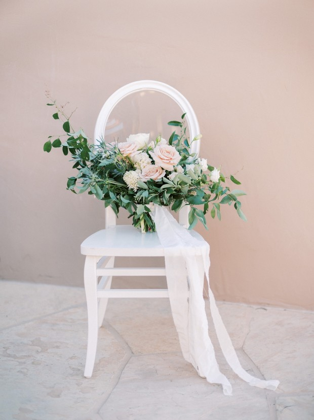 bridal bouquet in blush and white