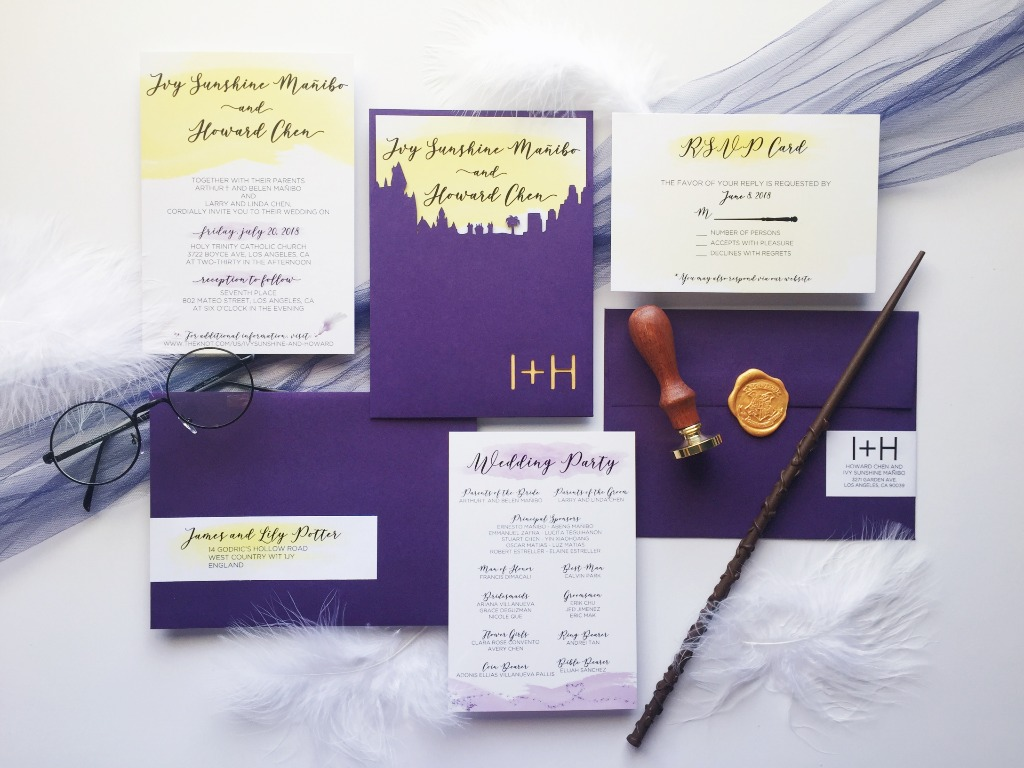 This creative invitation suite was perfect for our Harry Potter-loving couple. The envelopment featured both a Hogwarts and Los Angeles
