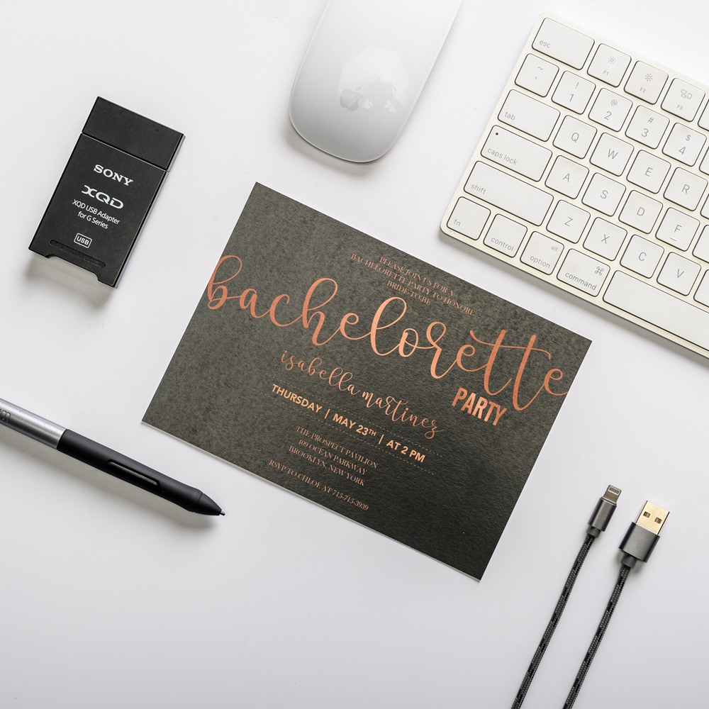Affordable Black and Rose Gold Online Bachelorette Party Invitation Cards