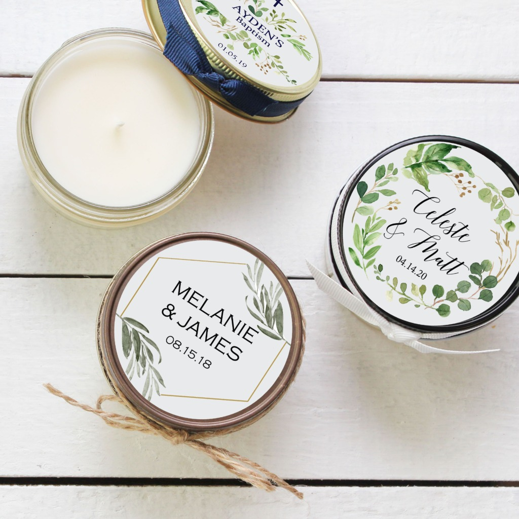 Soy Candle Wedding Favors for every occasion. 100% American grown soy wax, phthalate, paraffin, lead and dye FREE.