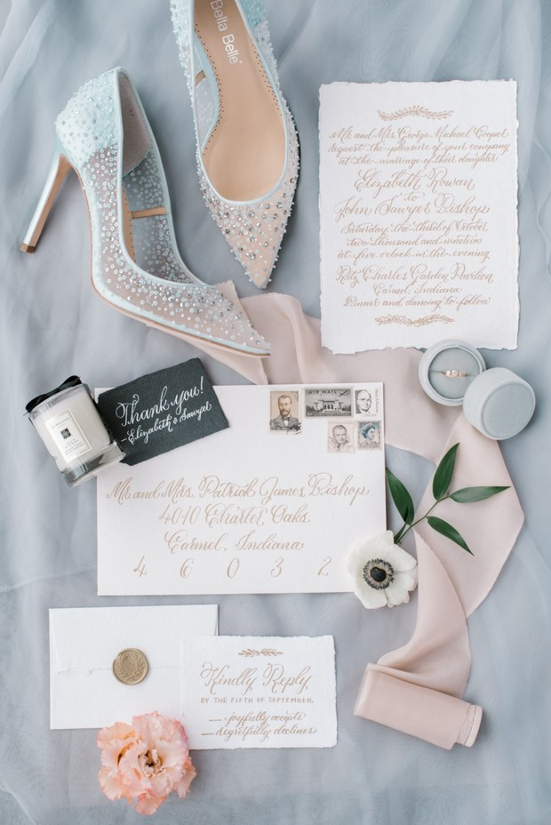 gold calligraphy wedding invitation suite