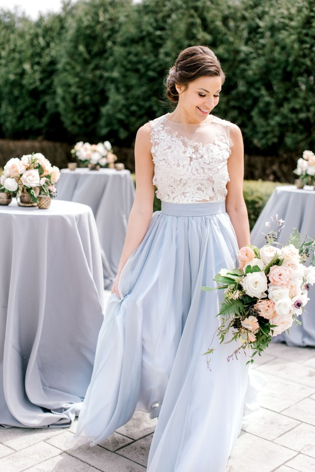 soft blue wedding cocktail hour