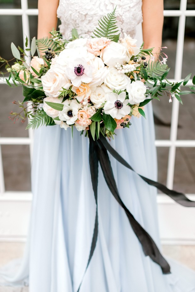 Soft Blue and Gold Anemone Flower Wedding Ideas