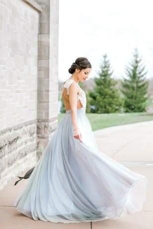 wedding dress in blue and lace