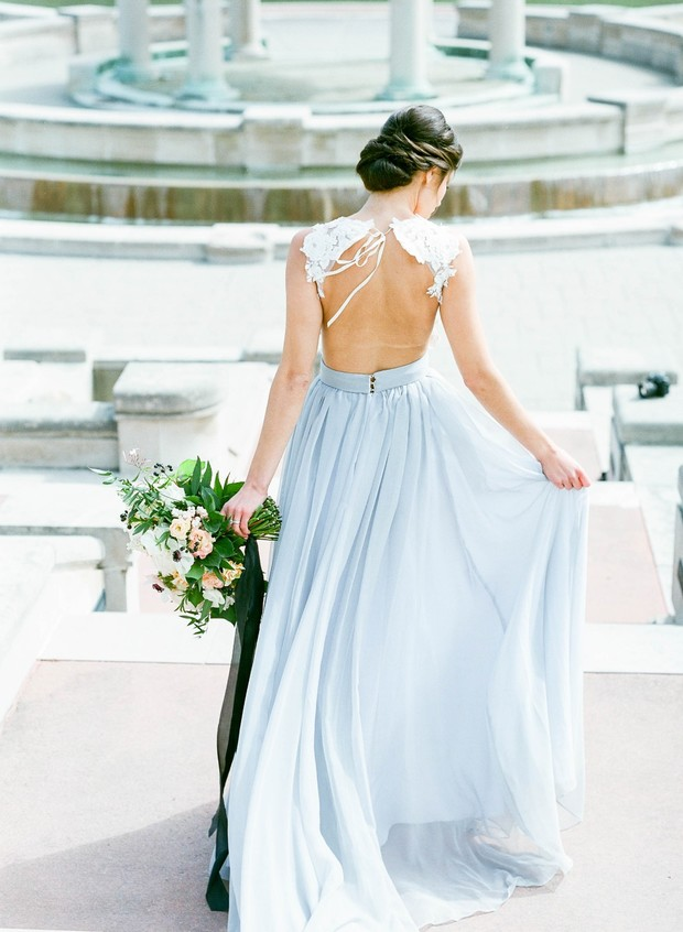 soft blue and lace wedding dress