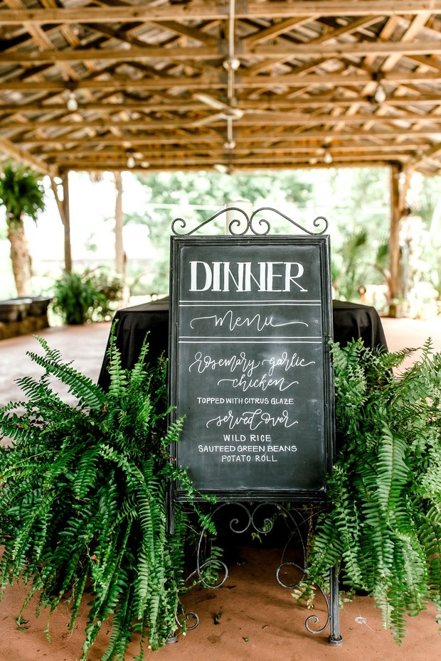 dinner chalkboard wedding sign