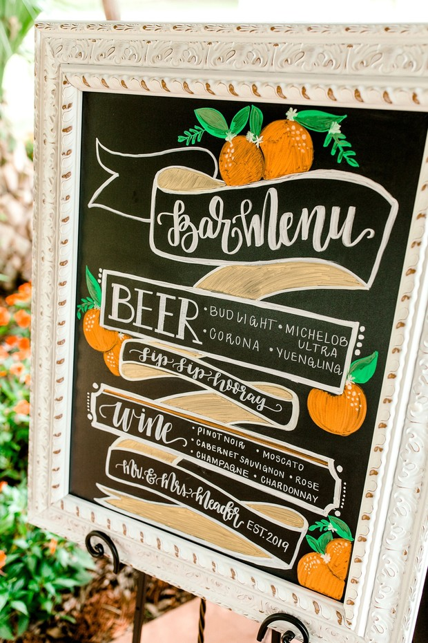 Summertime wedding bar sign