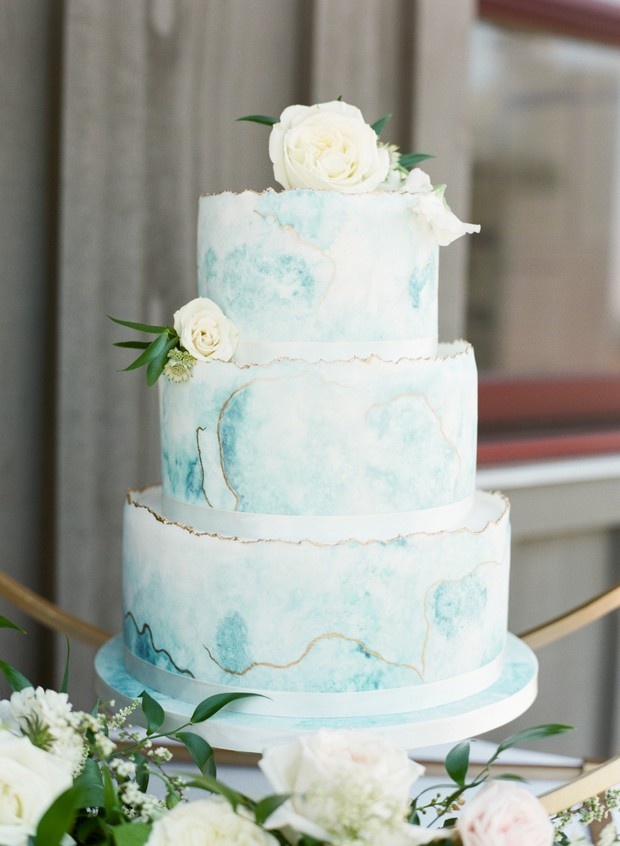 blue marble wedding cake with gold