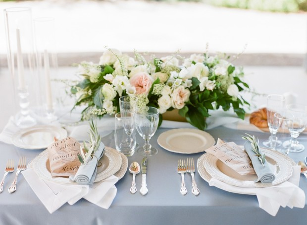 wedding place setting with greenery