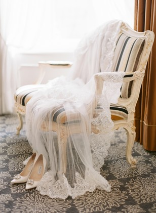 wedding veil and wedding shoes