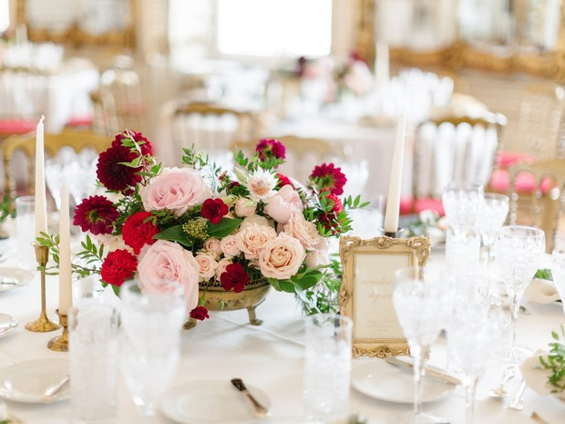 blush and red wedding table