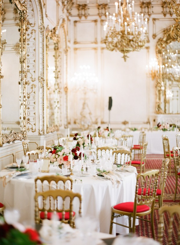 gold white and red ballroom wedding reception