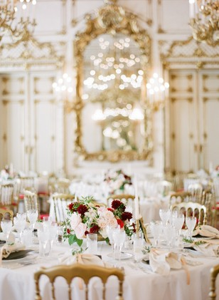 glam gold white and red ballroom wedding reception