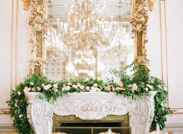 glamorous gold and roses wedding reception