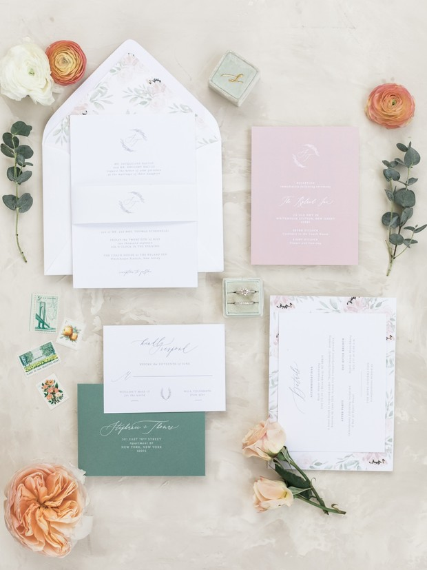blush and floral accented wedding invitations