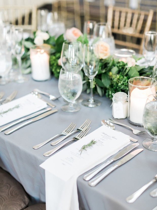 grey and white place setting