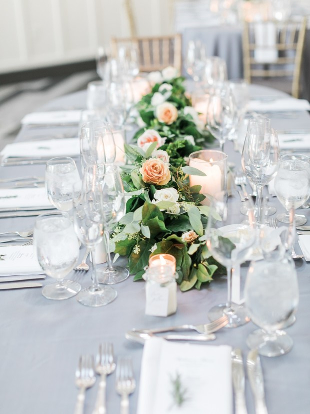 grey white and blush table decor