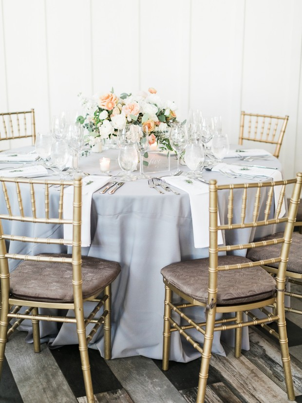 elegant grey white and blush wedding table decor