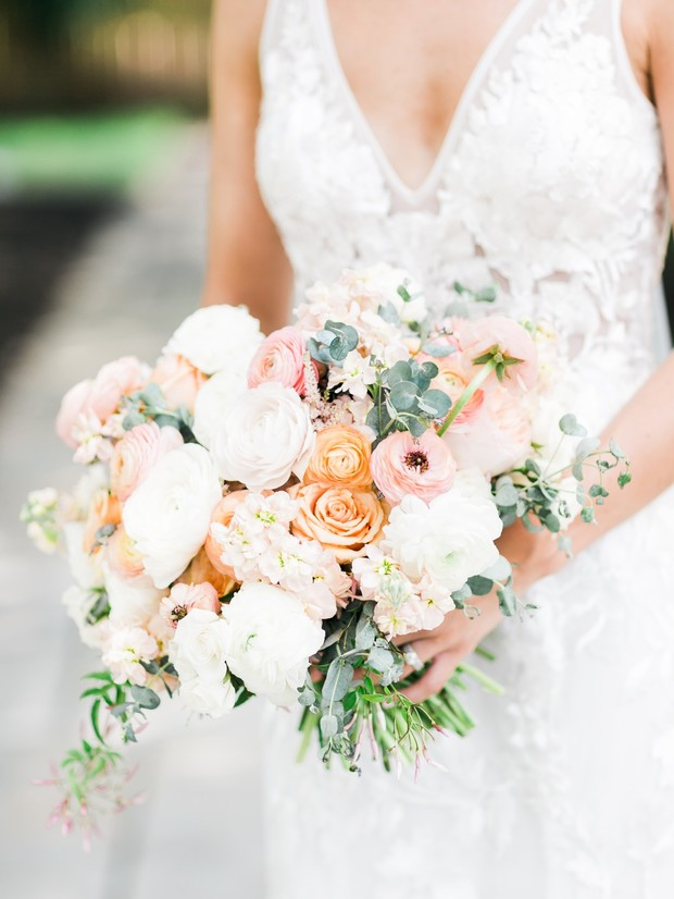 blush white and pink bridal bouquet