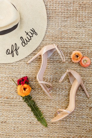 cute off duty sun hat and nude wedding shoes