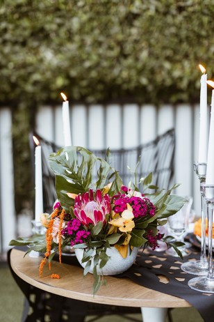 bright and bold wedding table decor