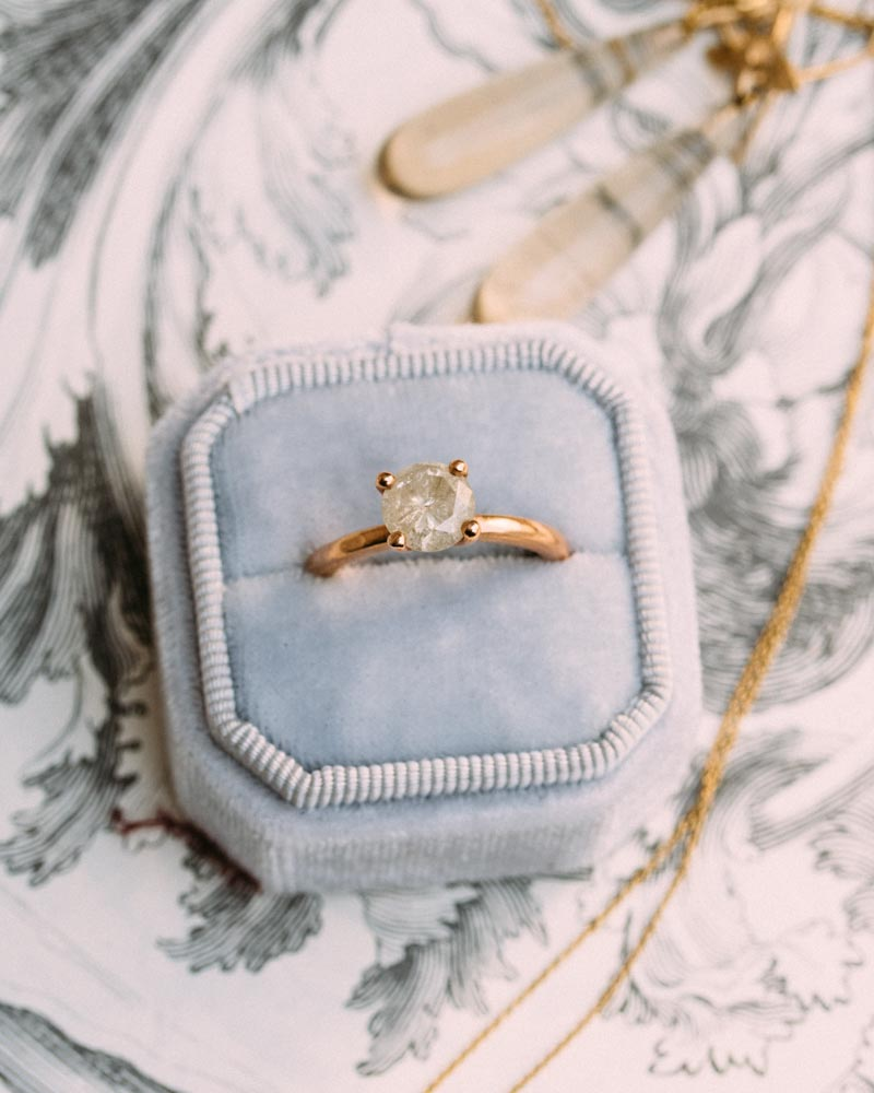 Amore Ice Diamond Engagement Ring. This is the Vena Amoris twist on the modern classic 4 prong solitaire. This 2mm wide gold beauty
