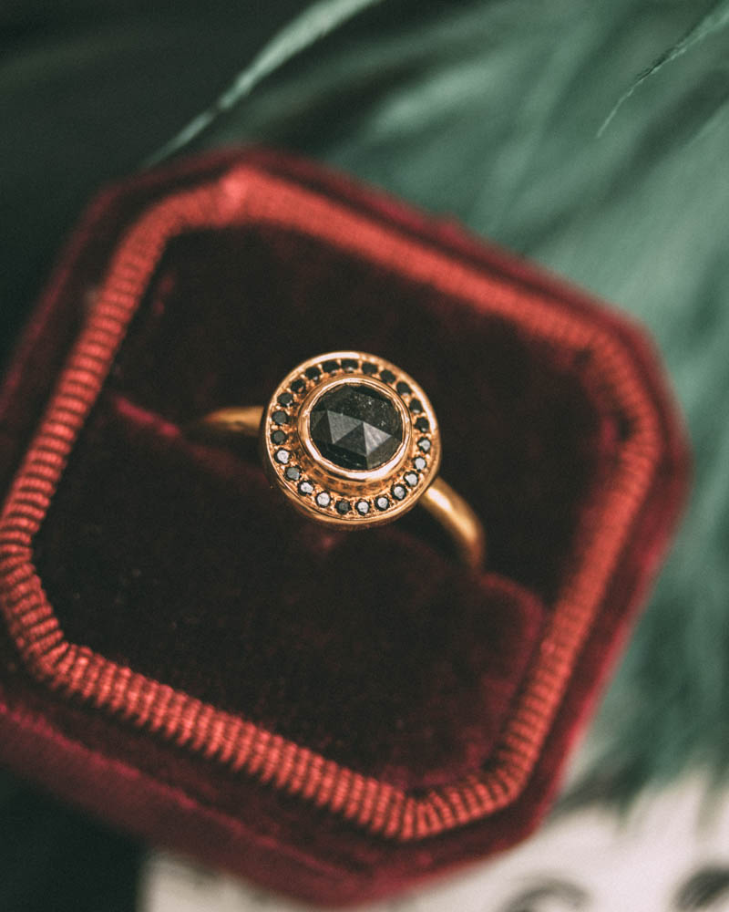 Corona With Black Diamond Engagement Ring. As though plucked from a ancient Rome, this ring is like wearing a piece of history your