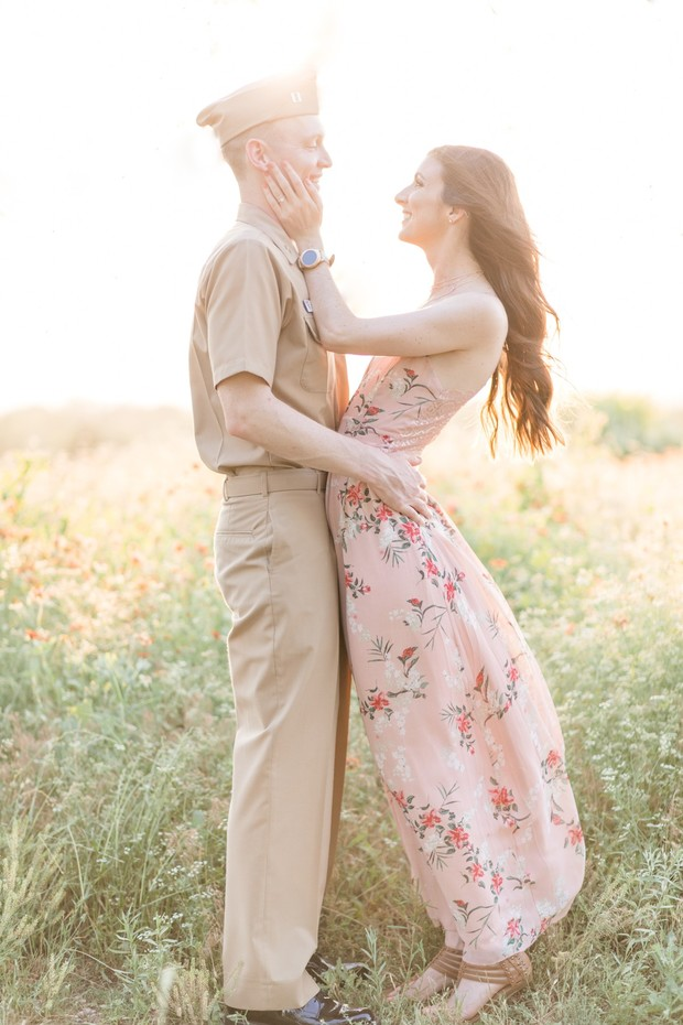 engagement shoot in the wildflowers