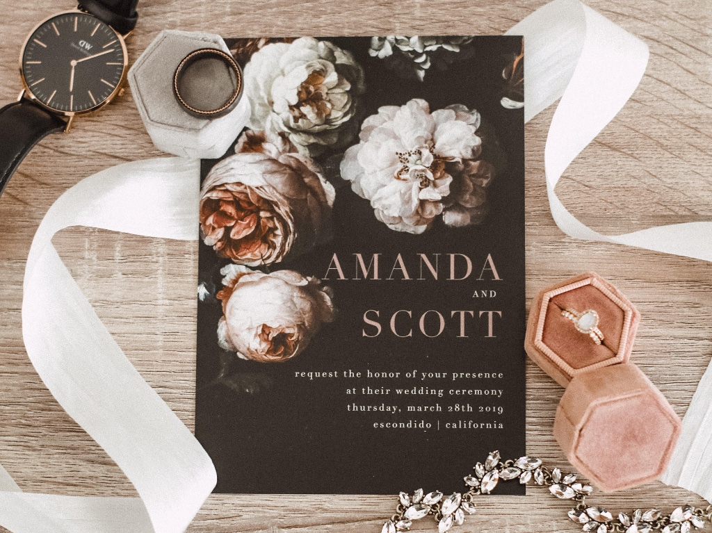 Our Moody Florals Wedding Invitation Suite will be sure to have your guests swooning before they even show up to your big day!