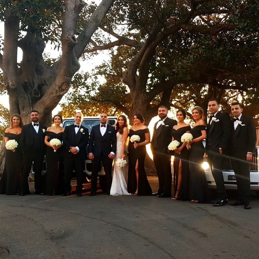 Gorgeous #bridalparty in our Gia Off Shoulder Gown