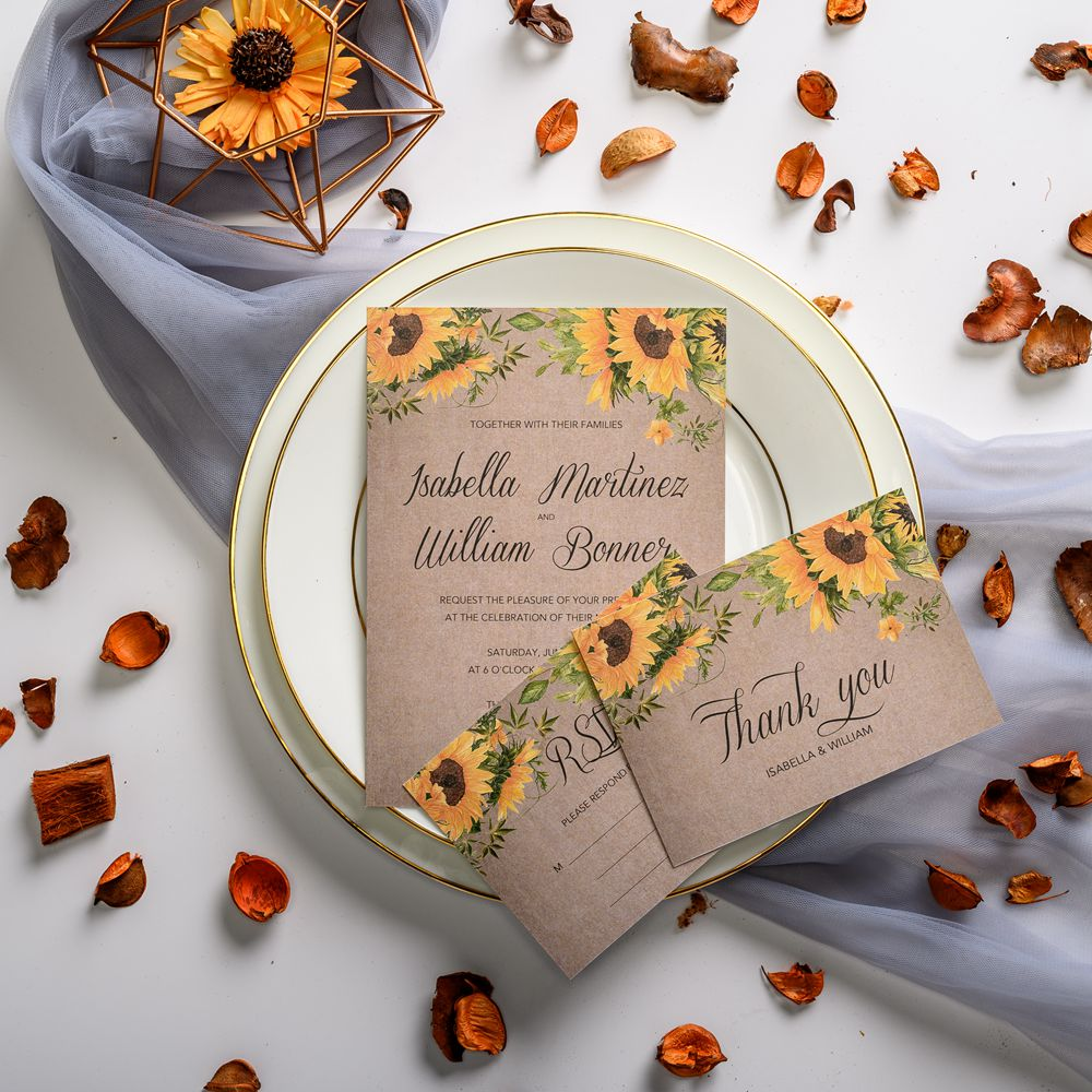 Congratulations on your upcoming event! Try our new product which features sunflower and greenery design. Why not take a rustic wedding
