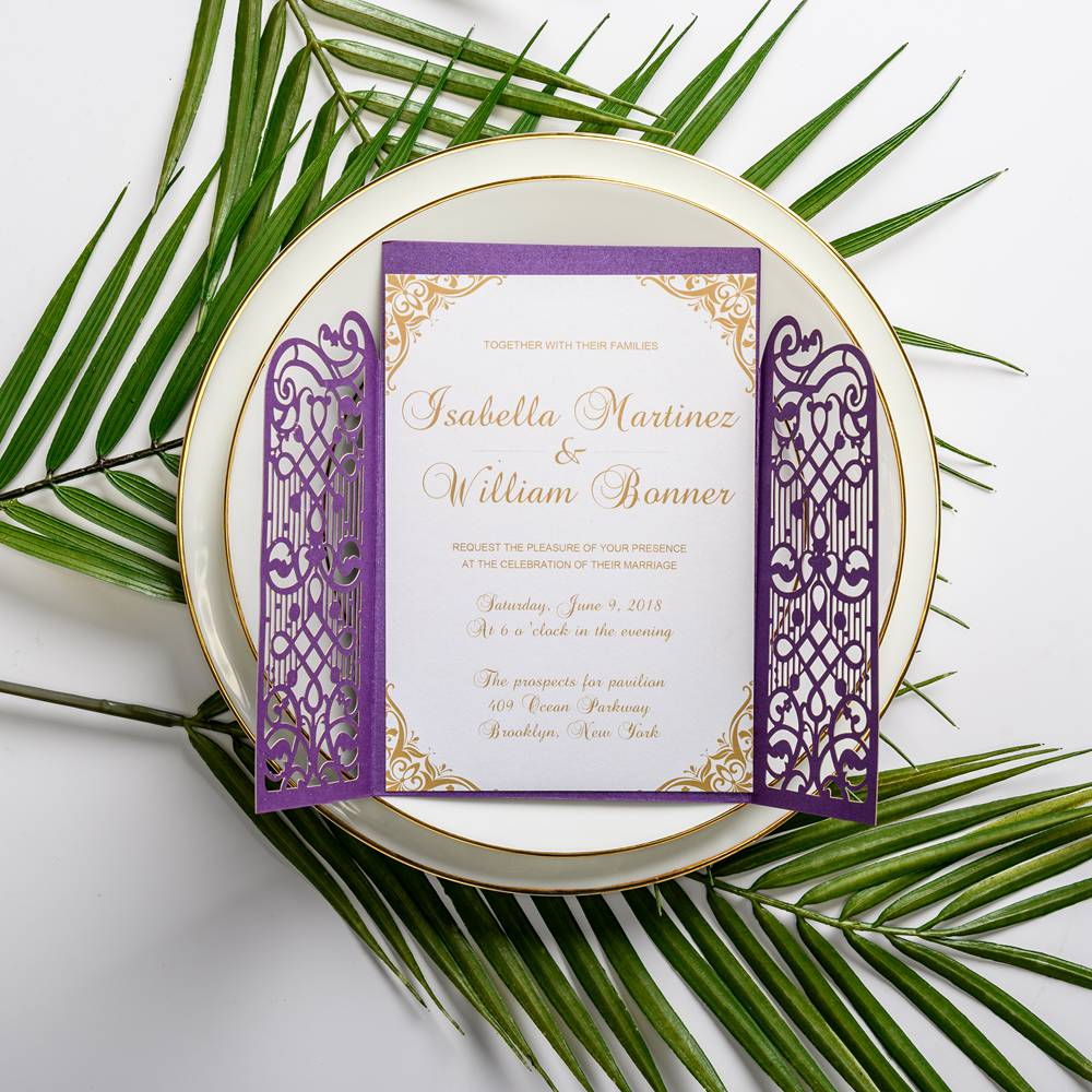 This elegant wedding invitation is charactered by delicate laser cut wrap, vellum belly band with tag and art deco pattern. Perfect