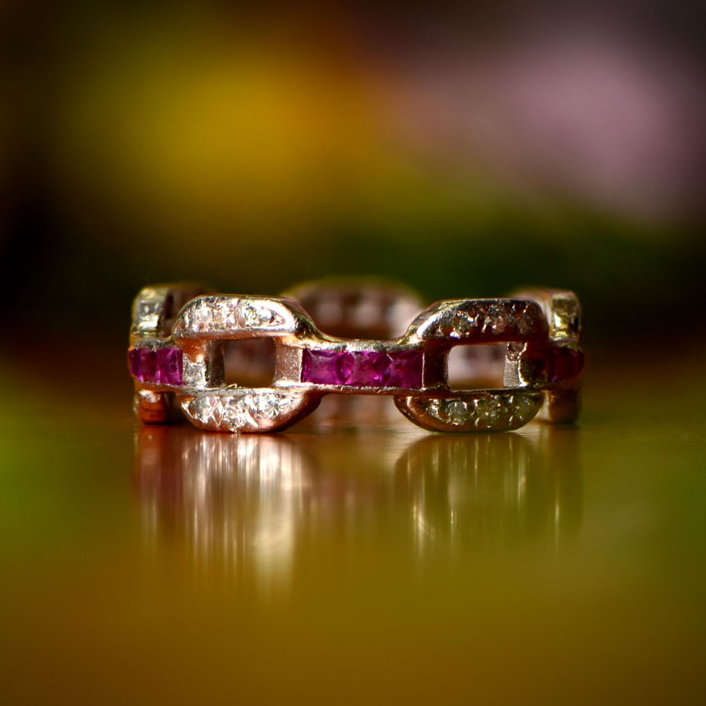 Rare antique diamond and ruby platinum wedding band. Circa 1920.