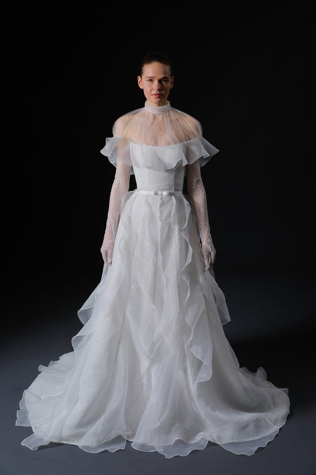 High neck ruffle capelet and gown, Isabelle Armstrong