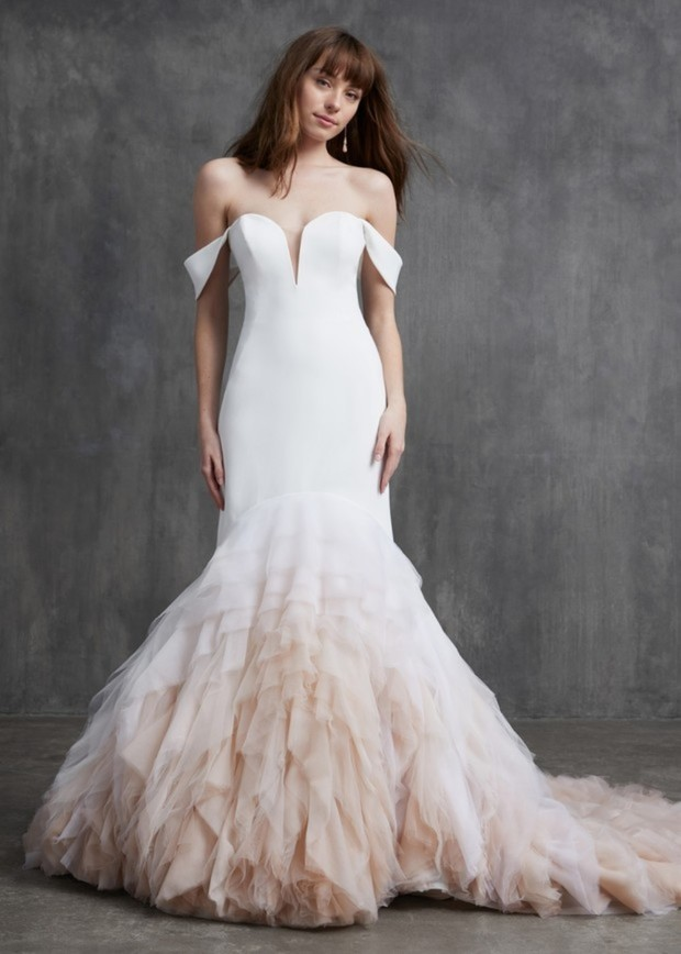 Joan, mermaid off shoulder blush ombre wedding dress, Kelly Faetenini