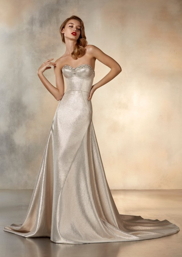 Metallic A-line gown,  Pronovias