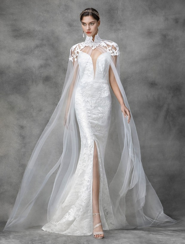 High neck lace + tulle cape, Victoria KyriaKides