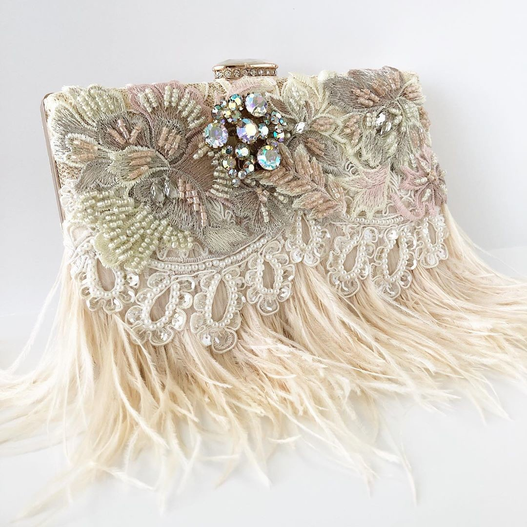 BLUSH and gorgeous embellished details make this New bridal clutch the ultimate show stopper!!! Shop the new clutches today!!!💗