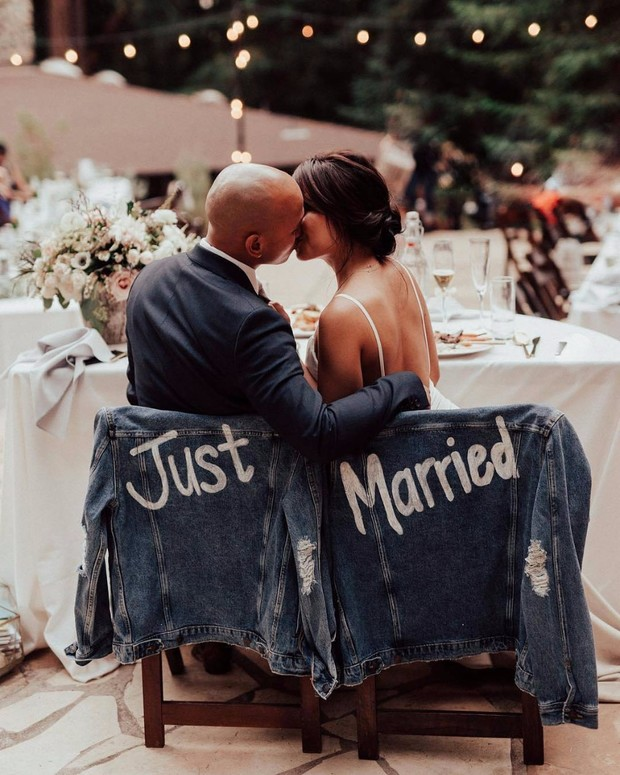 just married painted denim his and hers jackets