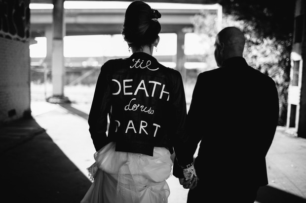 vintage bridal style with funky painted leather jacket
