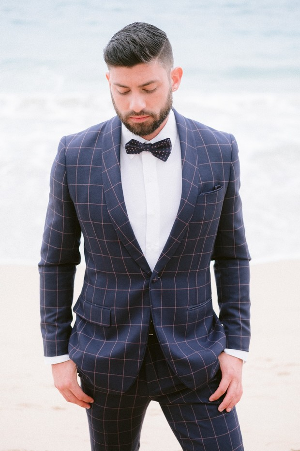 checkered suit for the groom
