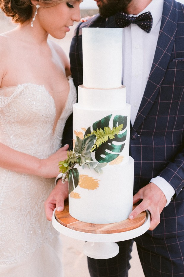 tropical palm wedding cake