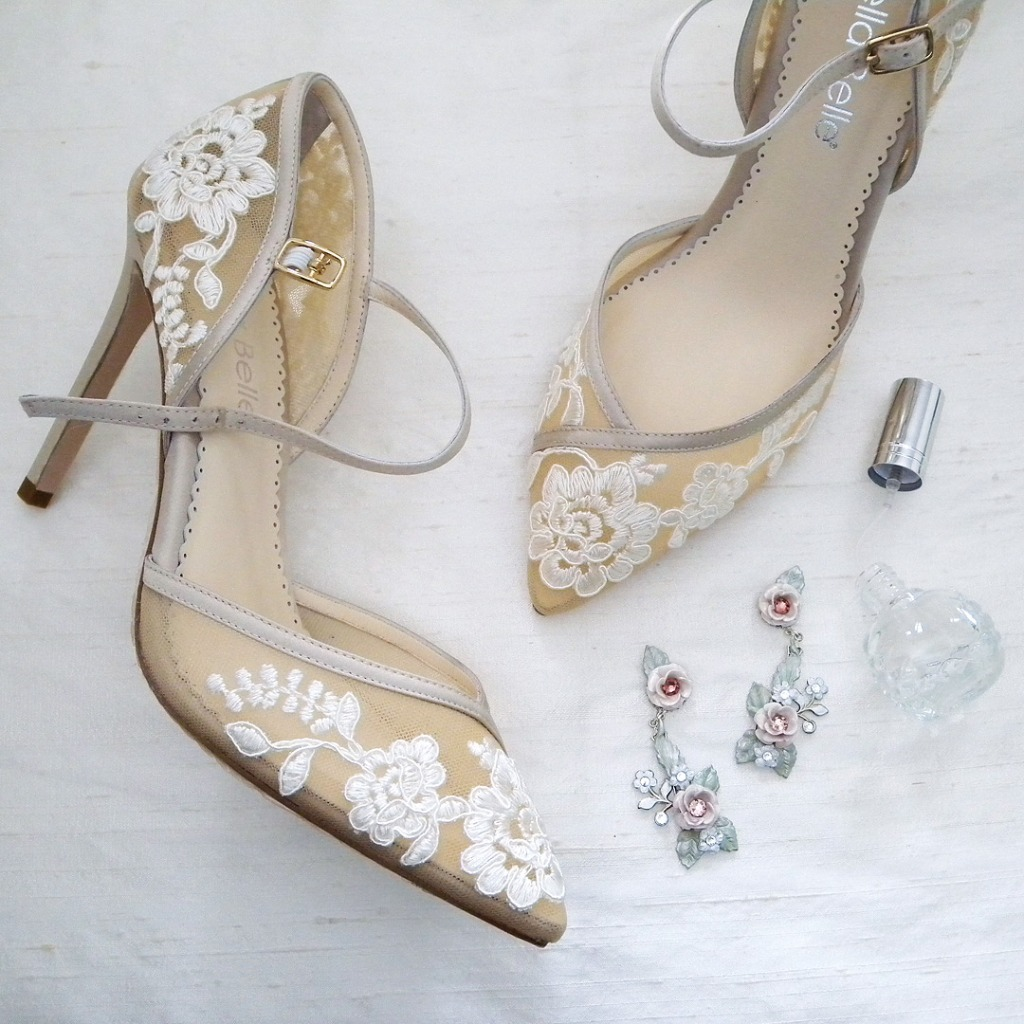 Romantic vintage shoes, jewels & accessories. Bella Belle Claudia Lace heels, Floral Chandelier Earrings created by the House of