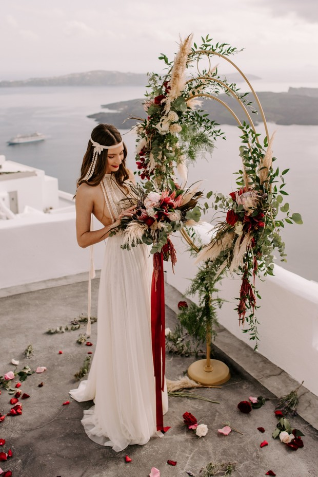 floral giant wreath wedding backdrop