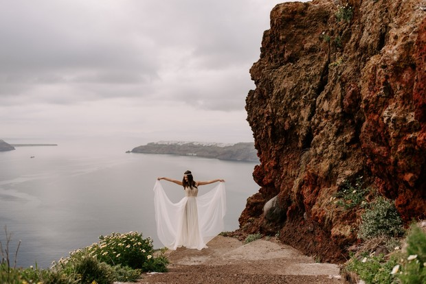 bride in Santorini Greece