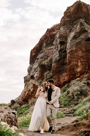 bride and groom photos in dramatic setting